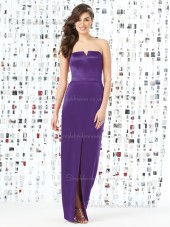 Majestic / Purple Natural Belt V-neck Floor-length Column / Sheath Satin Sleeveless Bridesmaid Dress