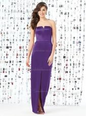 Majestic / Purple Natural Belt V-neck Floor-length Column / Sheath Satin Sleeveless Bridesmaid Dress