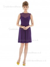 Majestic / Purple Natural A-line Sleeveless Scoop Mini Chiffon Draped Bridesmaid Dress