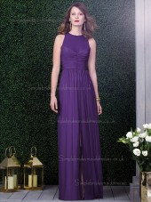 Majestic / Purple Natural Draped Floor-length Chiffon Column / Sheath Sleeveless Scoop Bridesmaid Dress