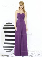 Majestic / Purple A-line Sweetheart Sleeveless Chiffon Draped Floor-length Empire Bridesmaid Dress