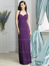 African Violet / Purple Empire Floor-length Sleeveless Sweetheart Column / Sheath Chiffon Draped Bridesmaid Dress