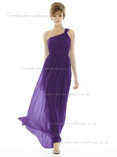 Majestic / Purple Chiffon Sleeveless Natural Shoulder Draped Floor-length One Column / Sheath Bridesmaid Dress