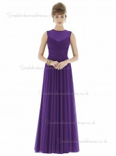 Majestic / Purple V-neck Ball Floor-length Sleeveless Natural Gown Draped Chiffon Bridesmaid Dress