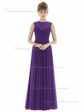 Majestic / Purple V-neck Ball Floor-length Sleeveless Natural Gown Draped Chiffon Bridesmaid Dress