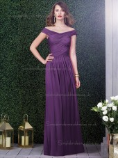 African Violet / Purple Natural Off-the-shoulder Draped Floor-length Sleeveless A-line Chiffon Bridesmaid Dress