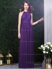 Majestic / Purple Empire Halter A-line Chiffon Draped Sleeveless Floor-length Bridesmaid Dress