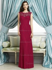 Spanish Red / Red Sleeveless Floor-length Bateau Mermaid Natural Lace Lace Bridesmaid Dress