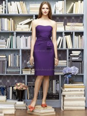 Majestic / Purple Natural Satin Column / Sheath Bateau Knee-length Ruffles Sleeveless Bridesmaid Dress