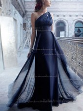 Dark Navy Empire Column / Sheath Floor-length Chiffon One Shoulder Bridesmaid Dress