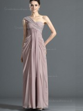 Pearl Pink One Shoulder Floor-length A-line Empire Chiffon Bridesmaid Dress