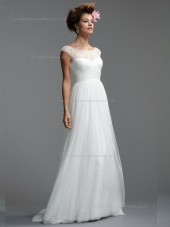 White A-line Sweep Tulle Bateau Natural Bridesmaid Dress