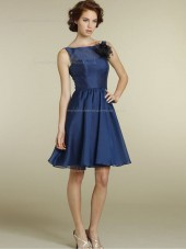 Blue Satin Bateau Natural Knee-length A-line Bridesmaid Dress