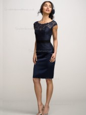 Dark Navy Column / Sheath Natural Bateau Lace Knee-length Bridesmaid Dress