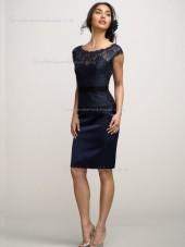 Dark Navy Column / Sheath Natural Bateau Lace Knee-length Bridesmaid Dress