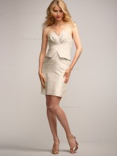 Champagne Column / Sheath Empire Knee-length V-neck Satin Bridesmaid Dress