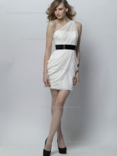 White Empire Chiffon One Shoulder Column / Sheath Knee-length Bridesmaid Dress