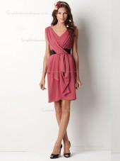 Watermelon V-neck Chiffon Knee-length Column / Sheath Empire Bridesmaid Dress