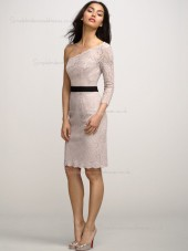 Blush Natural Knee-length Column / Sheath Lace One Shoulder Bridesmaid Dress