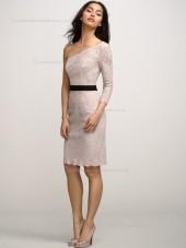 Blush Natural Knee-length Column / Sheath Lace One Shoulder Bridesmaid Dress