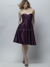 Grape Sweetheart Satin Empire Knee-length A-line Bridesmaid Dress
