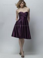 Grape Sweetheart Satin Empire Knee-length A-line Bridesmaid Dress
