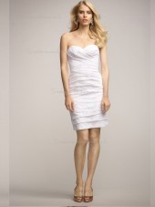 ivory Lace Short-length Natural Column / Sheath Sweetheart Bridesmaid Dress