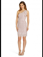 Blush Column / Sheath Natural Short-length One Shoulder Lace Bridesmaid Dress