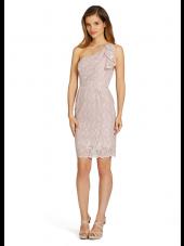 Blush Column / Sheath Natural Short-length One Shoulder Lace Bridesmaid Dress