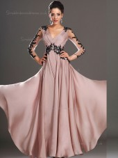 Blush V-neck Floor-length A-line Empire Chiffon Bridesmaid Dress