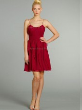 Red Empire Short-length Bateau Chiffon A-line Bridesmaid Dress