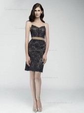 Black Short-length Column / Sheath Lace Natural V-neck Bridesmaid Dress