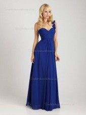Royal Blue Floor-length Chiffon A-line Sweetheart Empire Bridesmaid Dress