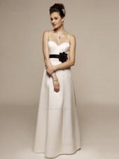 Champagne Sweetheart A-line Empire Floor-length Satin Bridesmaid Dress