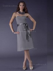 Gray Natural Knee-length Sweetheart A-line Chiffon Bridesmaid Dress