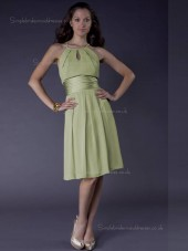 Green A-line Empire Chiffon Knee-length Scoop Bridesmaid Dress