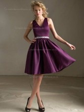 Grape A-line Knee-length V-neck Satin Natural Bridesmaid Dress