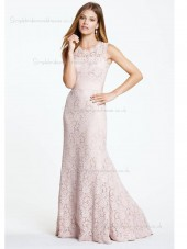 pink Floor-length Mermaid Lace Natural Scoop Bridesmaid Dress