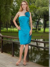 Ocean Blue Natural Knee-length Column / Sheath Satin One Shoulder Bridesmaid Dress