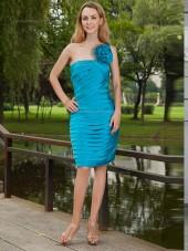 Ocean Blue Natural Knee-length Column / Sheath Satin One Shoulder Bridesmaid Dress