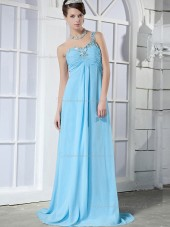 Blue Sweetheart Empire Chiffon Sweep A-line Bridesmaid Dress