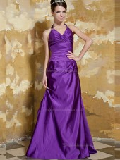 Regency V-neck Empire Satin Sweep A-line Bridesmaid Dress