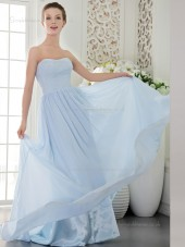 Sky Blue Chiffon Sweetheart Sweep Natural A-line Bridesmaid Dress