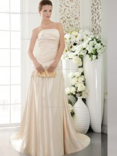 Champagne Natural Strapless Sweep Satin A-line Bridesmaid Dress