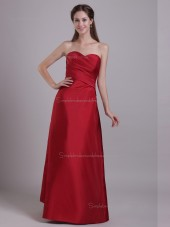 Red Sweetheart Floor-length Empire Satin A-line Bridesmaid Dress