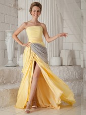 Gold A-line Chiffon Sweep Natural Strapless Bridesmaid Dress