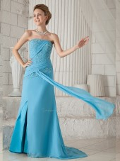 Blue Natural A-line Strapless Chiffon Sweep Bridesmaid Dress