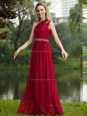 Burgundy Sweep One Shoulder Natural Chiffon A-line Bridesmaid Dress