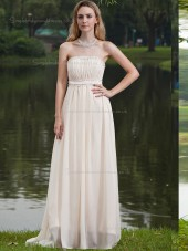 ivory Empire Sweep Strapless A-line Chiffon Bridesmaid Dress