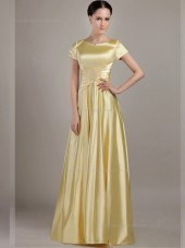 Gold Satin A-line Empire Floor-length Bateau Bridesmaid Dress